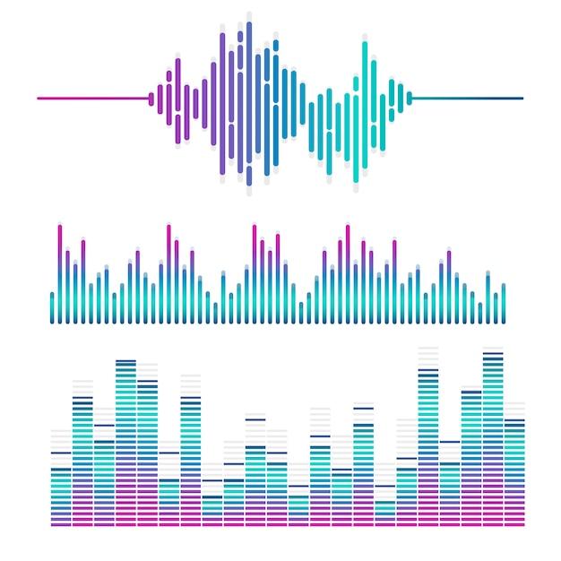 Звуковая волна эквалайзер векторный дизайн набор Бесплатные векторы