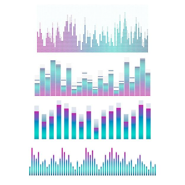 Sound wave equalizer vector design set Free Vector