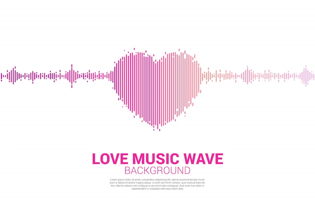 Sound wave heart icon music equalizer background Premium Vector