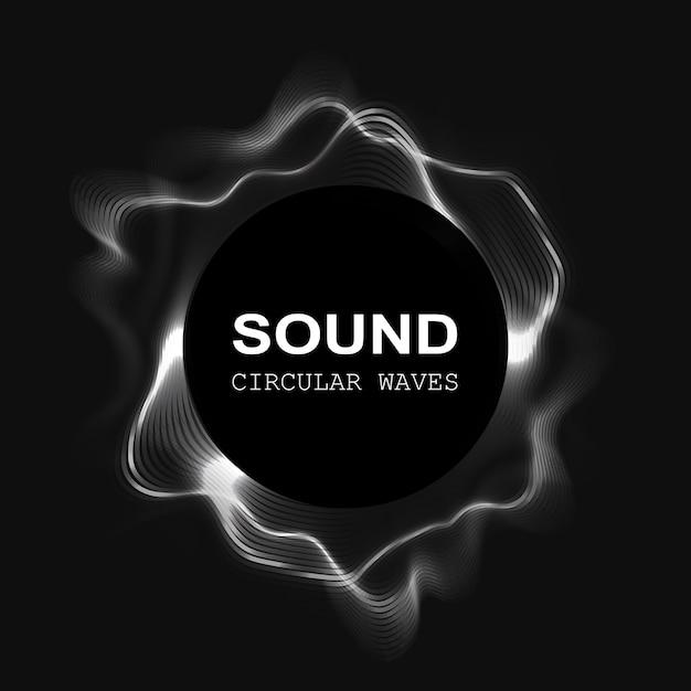 黒の背景に分離された音波 Premiumベクター