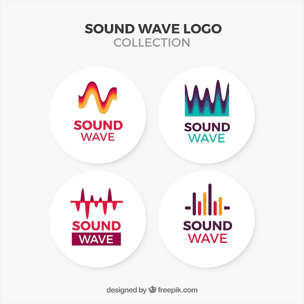 Sound wave logo collection with flat design Free Vector