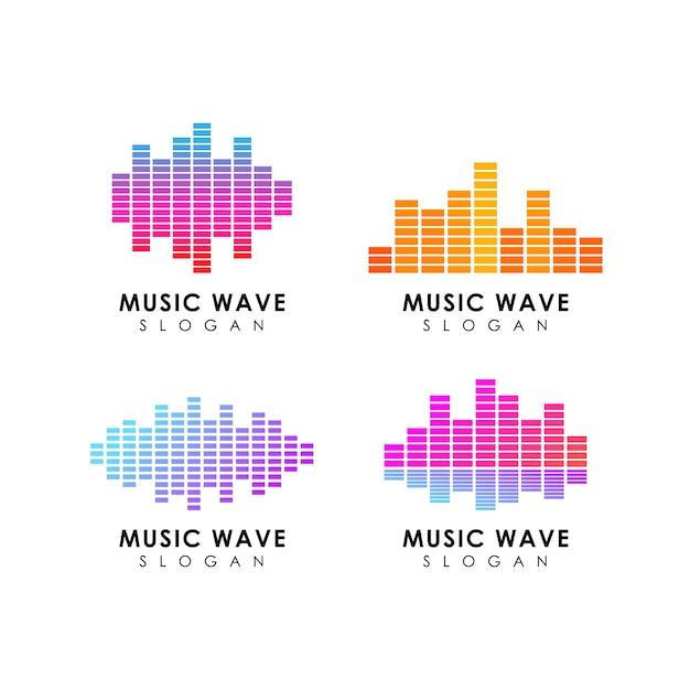 Sound wave logo design template Premium Vector