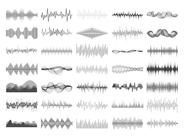 Sound wave and music digital equalizer panel. Premium Vector