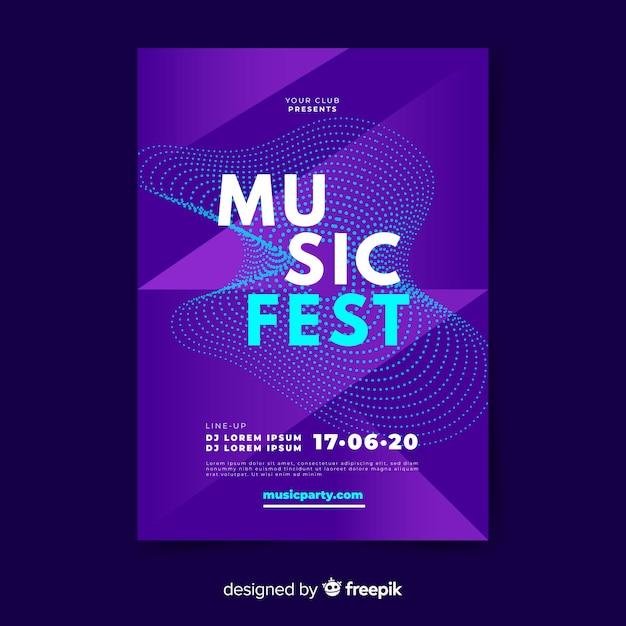 Modello di poster di musica dell'onda sonora Vettore gratuito
