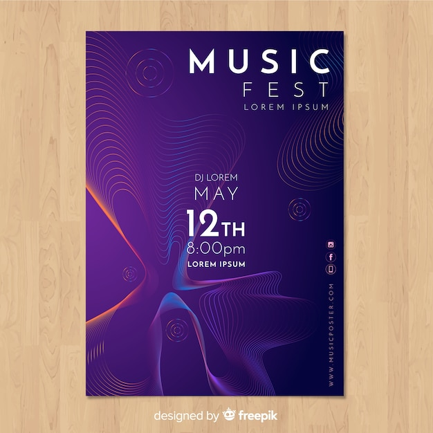 Sound wave music poster template Free Vector
