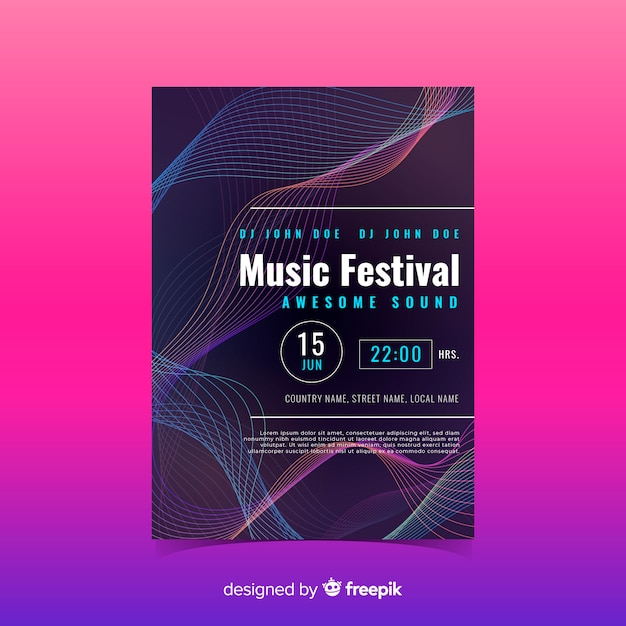 Sound wave music poster template Vector | Free Download