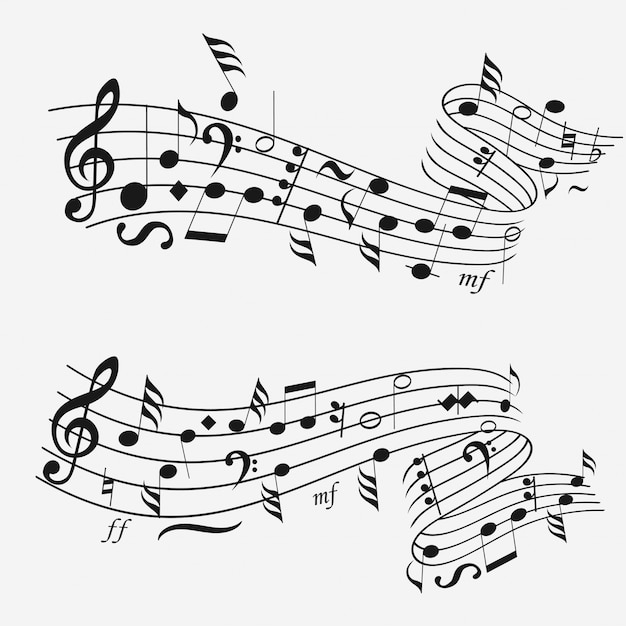 Sound wave with musical notation Premium Vector