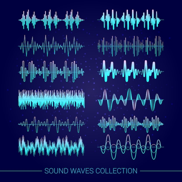 Sound waves collection with audio symbols on blue background Free Vector