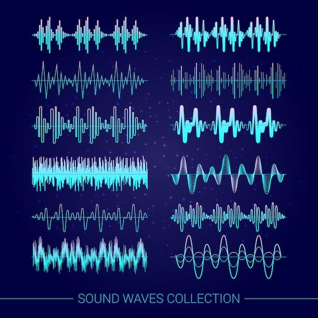 Коллекция звуковых волн с аудио символами на синем фоне Бесплатные векторы