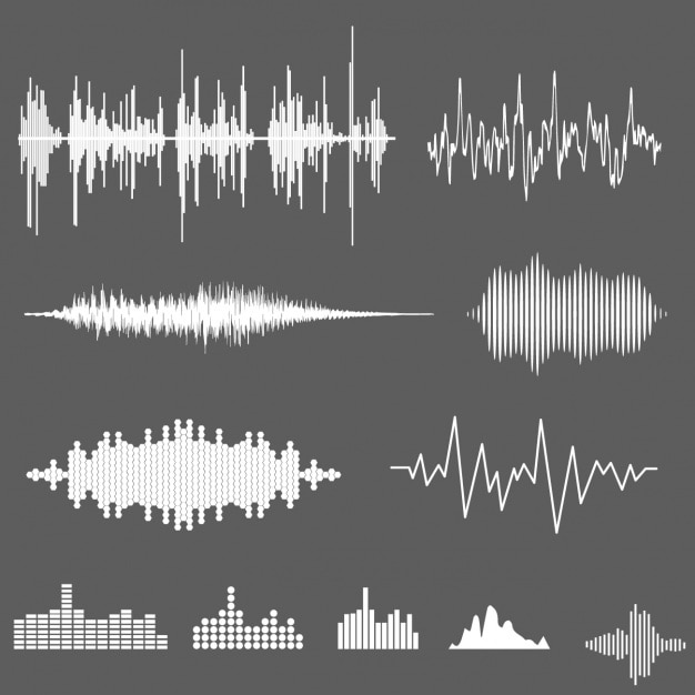 Sound waves collection Free Vector