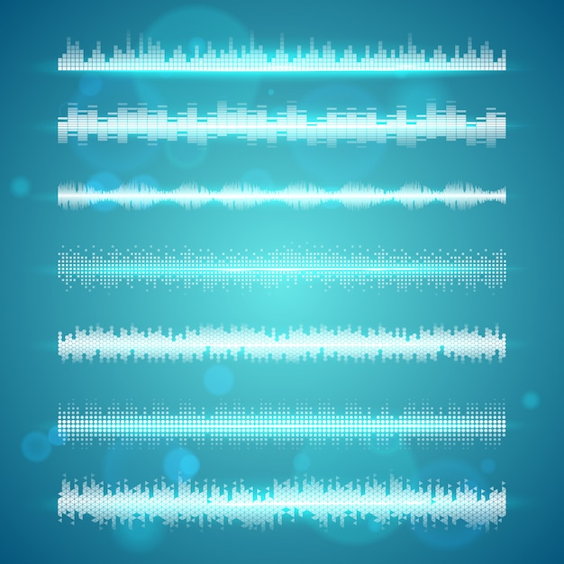 Sound waves display horizontal lines set Free Vector