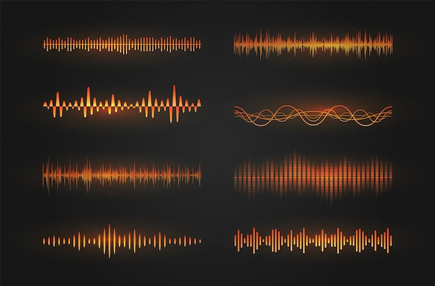 Sound waves icon set. luminous lines depicting a sound or radio wave, music equalizer or digital cardiogram, gui design element template. isolated   illustration. Premium Vector