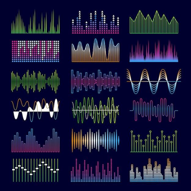 Звуковые волны. эквалайзер музыкальных символов формирует шаблоны голосовых импульсов. Premium векторы