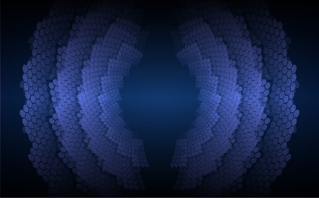 Sound waves oscillating dark blue light background Premium Vector
