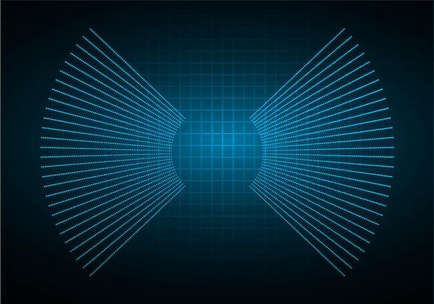 Sound waves oscillating dark blue light background Premium Vector