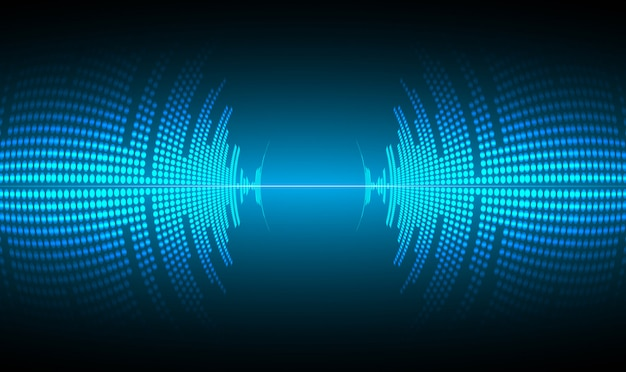 Sound waves oscillating dark blue light Premium Vector