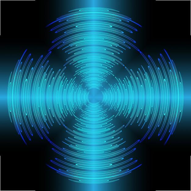 Sound waves oscillating dark blue light Premium Vector