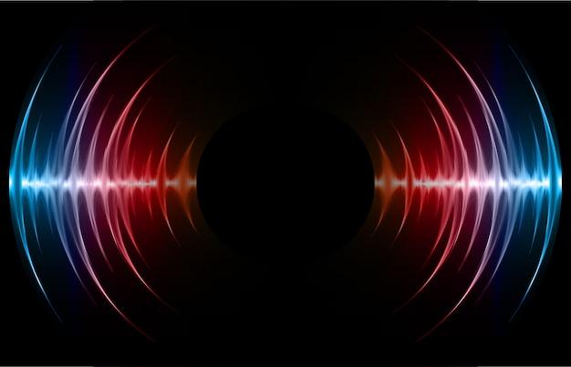 Sound waves oscillating dark blue red light background Premium Vector