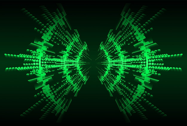 Sound waves oscillating dark green light background Premium Vector