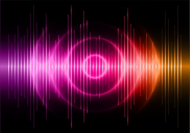 Sound waves oscillating dark purple orange light background Premium Vector