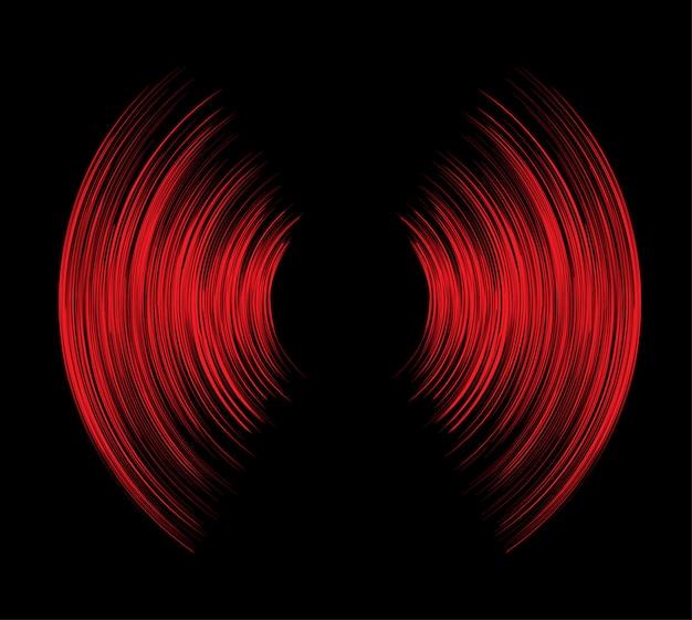 Sound waves oscillating dark red light background Premium Vector