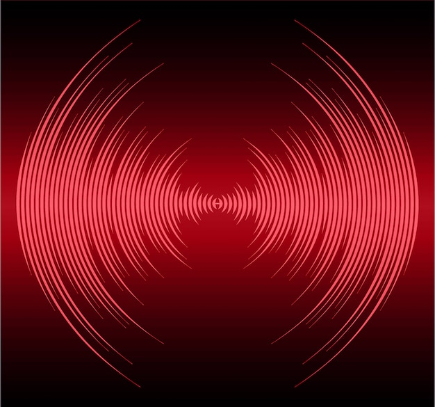 Sound waves oscillating dark red light background Premium Vector