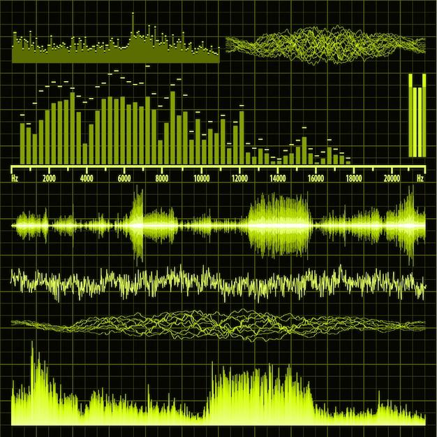 Набор звуковых волн. музыкальный фон. Premium векторы