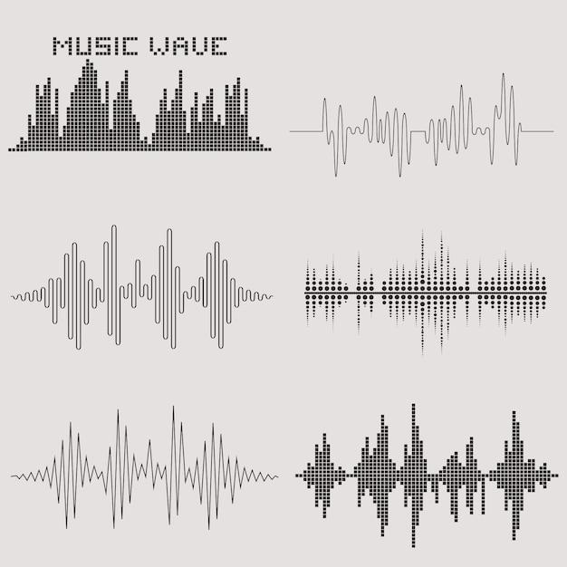 Sound waves vector set Premium Vector