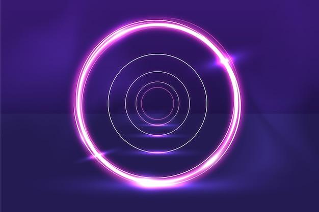 Soundcheck круговой абстрактный фон неоновые огни Бесплатные векторы