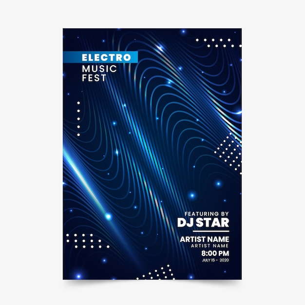 Soundwaves abstract flyer for music Free Vector