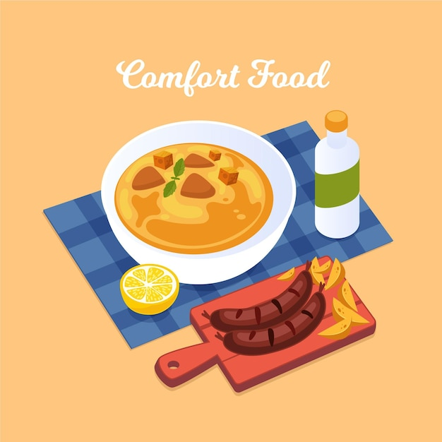 Soup and sausages concept Free Vector