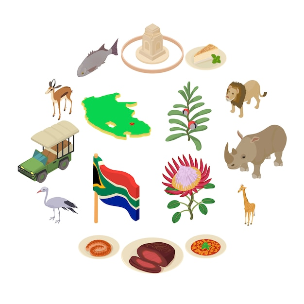 South africa travel icons set, isometric style Premium Vector