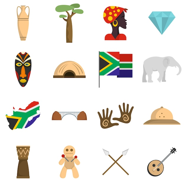 South africa travel icons set Premium Vector
