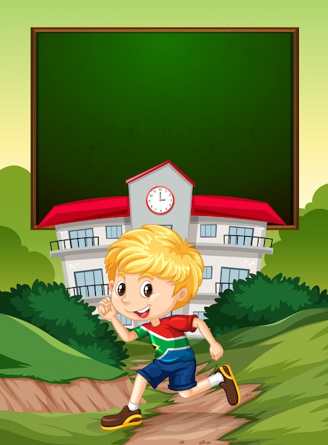 A south african boy on school banner Free Vector