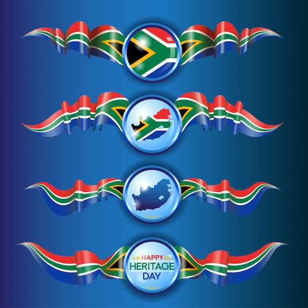 South african flag ribbons Premium Vector