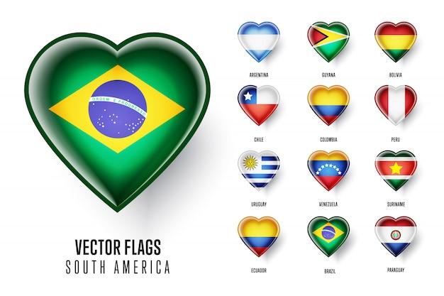 Флаги стран южной америки Premium векторы