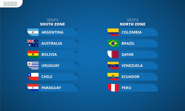 South america's football tournament 2020, flags of all participants sorted by groups and zones. Premium Vector
