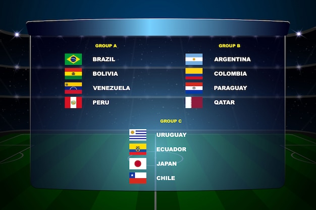 South america soccer cup groups. Premium Vector