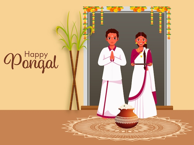 South indian couple standing together with sugarcane, pongali rice mud pot on rangoli for happy pongal celebration. Premium Vector