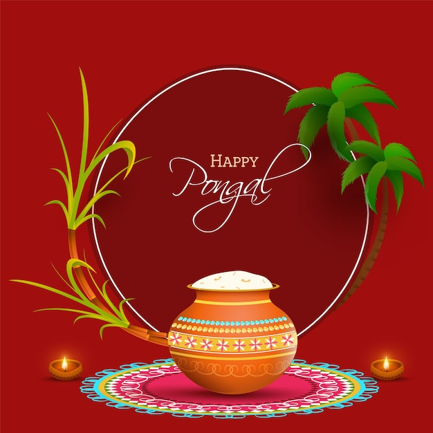 South indian festival happy pongal concept with traditional pot filled with cooked rice Premium Vector