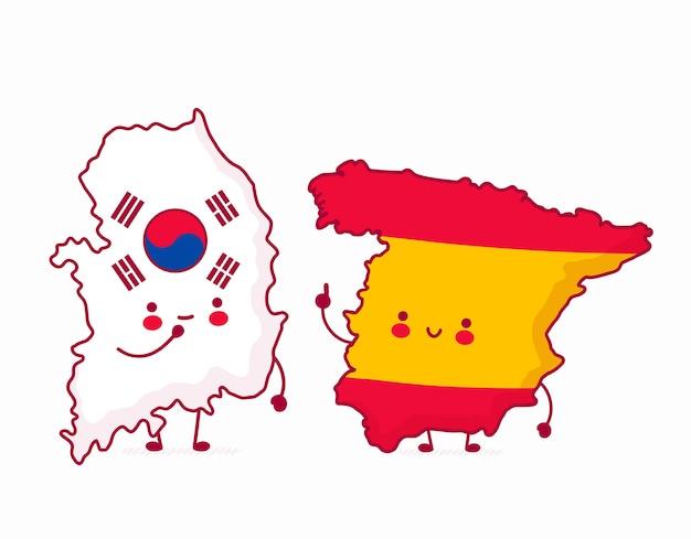 한국과 스페인지도 삽화 프리미엄 벡터