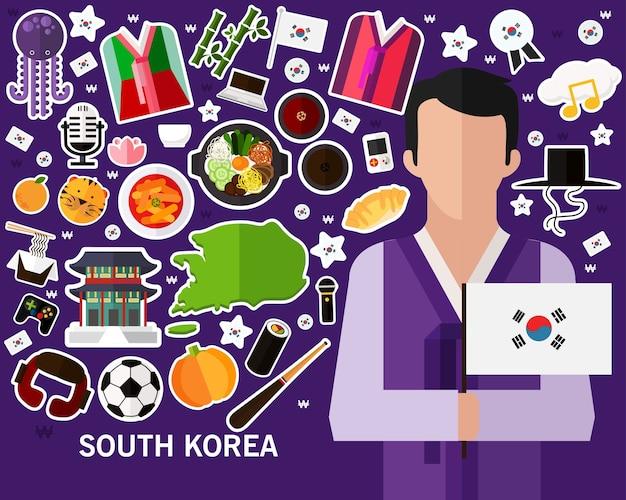 South korea concept background Premium Vector