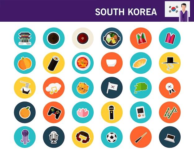 South korea concept flat icons Premium Vector