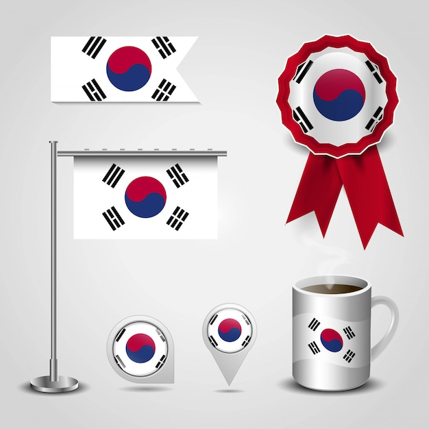 South korea country flag place on map pin, steel pole and ribbon badge banner Premium Vector