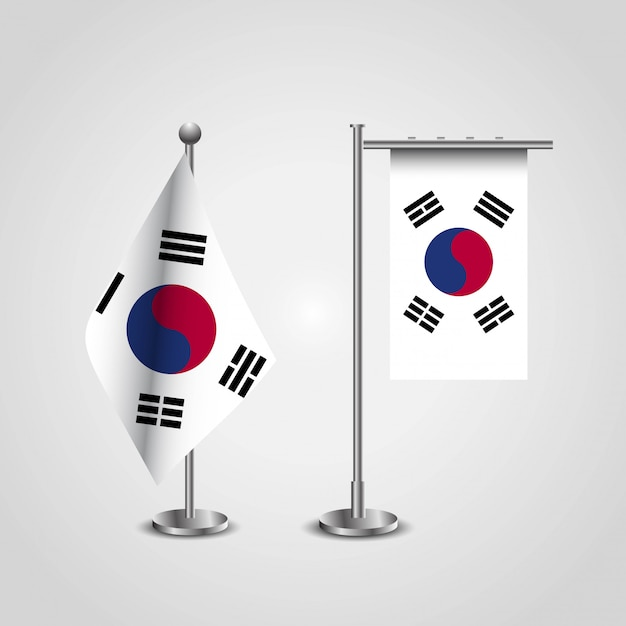 South korea country flag on pole Premium Vector