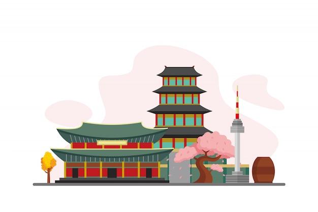 South korea famous landmarks background Premium Vector