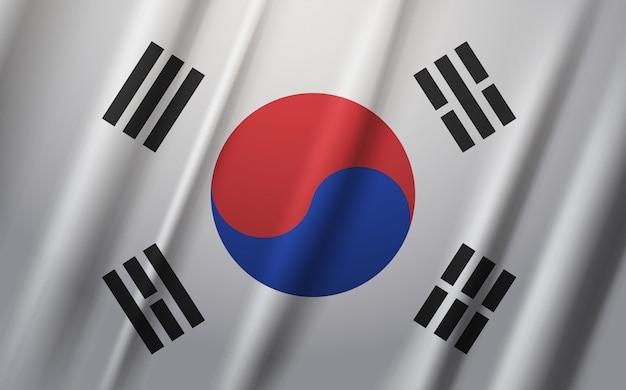 South korea flag waving on wind Premium Vector