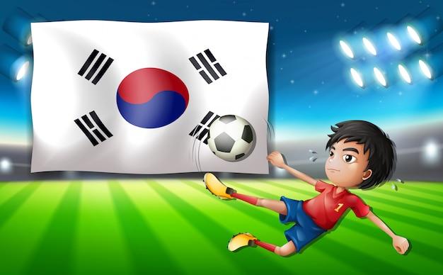 South korea football player Premium Vector