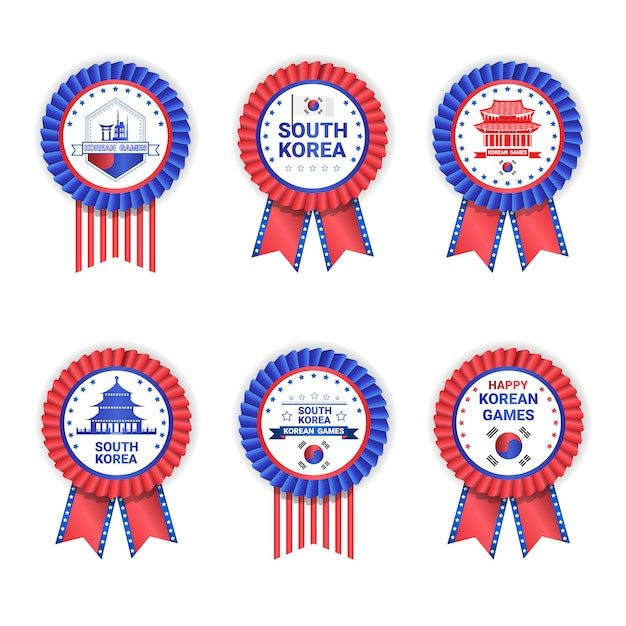 South korea games medals set template isolated on white Premium Vector
