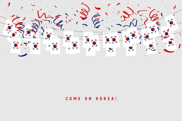South korea garland flag with confetti on gray background. Premium Vector